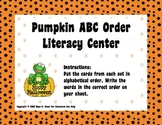 Pumpkin ABC Order Literacy-Word Work Center