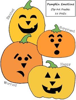 Pumpkin Emotions Clip Art Freebie:  18 PNGs