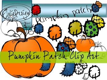 Pumpkin Patch FREE Clip Art - Color and Line Art