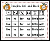 Pumpkin Roll and Read Sight Word Center Game