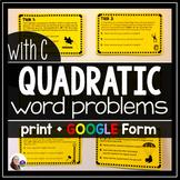 Quadratic Task Cards {Ax^2+Bx+C Word Problems}