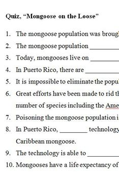 """Quiz, """"Mongoose on the Loose"""""""
