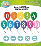 Rainbow Balloons Numbers Clipart — Over 30 Graphics!