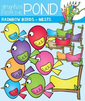 Rainbow Birds - Clip Art Graphics - Color + Line Art Birds