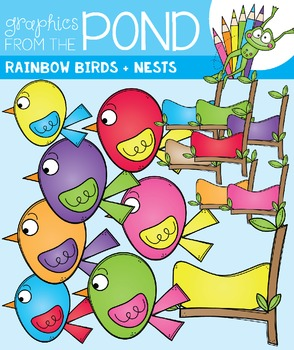 Rainbow Birds - Clip Art Graphics - Color + Line Art Birds