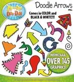 Rainbow Doodle Arrows Clip Art Set — Includes 150 Graphics!