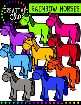 Rainbow Horses {Creative Clips Digital Clipart}