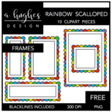 FREE Rainbow Scalloped Frames {Graphics for Commercial Use}