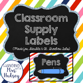 Rainbow Stripe School Supply Labels