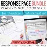 [Gr 2-5] BUNDLE: Reader's Notebook Response Pages *HALF-PAGE SET*