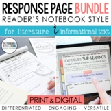 BUNDLE: Reader's Notebook Response Pages *HALF-PAGE SET*