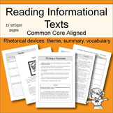 Reading Informational Text - Common Core Aligned