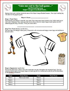 Reading Log for April with Baseball Theme and Activities (