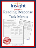 Reading Response Task Menu w/Critical Thinking Questions f