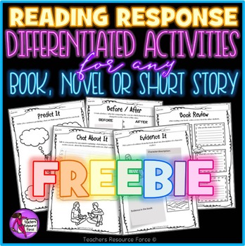 Differentiated Written Activities For Any Book, Novel or Short Story FREEBIE