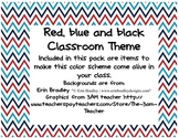 Red, Blue, and Black Classroom Theme Set