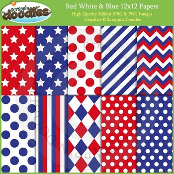 Red, White & Blue 12x12 Background Papers