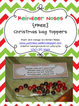 Reindeer Noses {FREEBIE}- Christmas Bag Topper