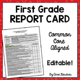 Report Card, First Grade Common Core- Editable- Fits on on