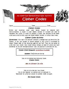 Revolutionary War Spy Codes Student Activity Worksheet