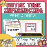 """Rhyme Time"" Task Cards: 60 Hink Pink Puzzles for Fun Voca"