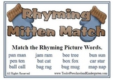 Rhyming Mitten Match - Rhymes Winter Theme Fall Fun - Read