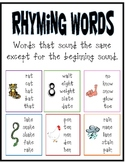 Rhyming Words Poster
