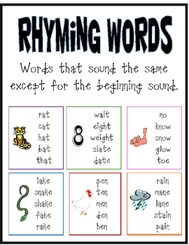 Worksheets Rhyming Words List rhyming words lessons tes teach poster teacherspayteachers com