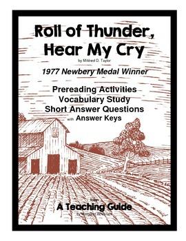 Roll of Thunder, Hear. . .  Prereading/Vocabulary/Short Answer