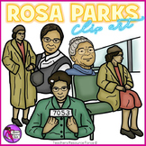 Rosa Parks clip art - color and black line