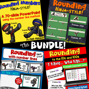 Rounding using Number Lines Bundle: PowerPoint, Craftivity, and Games