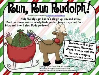 Run, Run Rudolph Nonsense Word Fluency Practice Game