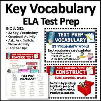 SBAC Test Prep Vocabulary Cards: Kid Friendly Language