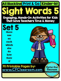 SIGHT WORDS:SET 5 {games printables flashcards activities
