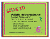 SOLVE IT! Divisibility Tests BUNDLED Task Card Sets for 2,