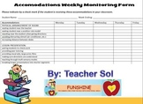 SPED Inclusion Accomodations Weekly Monitoring Form