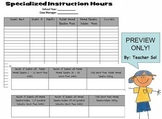 SPED Inclusion Specialized Instruction Service Hours Chart
