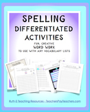 Spelling Activities To Use with any Spelling List