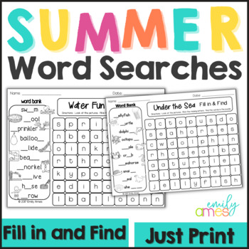 SUMMER Fill-In & Find Wordsearch PACKET (End of the year, No Prep, Puzzles)