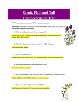 Sarah Plain and Tall Reading Comprehension Test, Answer Ke