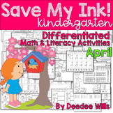 Save My INK: April NO PREP Math and Literacy Activities