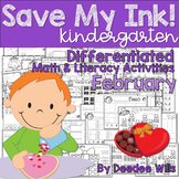 Save My INK: February NO PREP Math and Literacy Activities