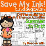Save My INK: Summer to 1st NO PREP Math and Literacy Activities
