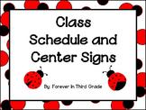 Schedule Cards - Ladybug Theme