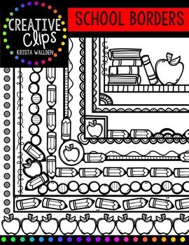 School Doodle Borders {Creative Clips Digital Clipart}