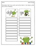 School Frogs -dge & -ge Word Sort