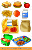 School Lunch Clipart Set, Kids Meals