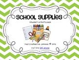 School Supplies {Student Emergent Reader & Activity Pack}