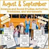 Science and Social Studies Printables for August and September