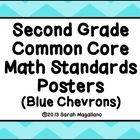 Second Grade Common Core Math Standards Posters: Blue Chevrons